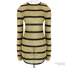 Balmain Paris Metallic Gold Black Semi-Sheer Knitted Mesh Dress FR38 UK10