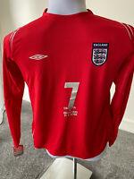 Euro 2004 England Away Jersey Beckham #7 Umbro Large Vintage Football