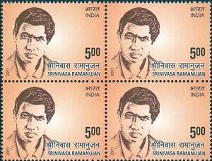 INDIA 2011 STAMP SRINIVASA RAMANUJAN , MATHEMATICIAN  BLOCK OF 4 . MNH