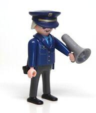 Playmobil Figure Police Captain Sargeant Grey Hair Mustache Glasses Hat Bullhorn