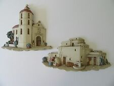 VTG Burwood Southwestern Church Village Wall Plaques Adobe Pueblo Mexican 3291