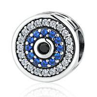 Blue Evil Eye Bead Pendant 925 Sterling Silver Charm Bead Fit Bracelet Chain