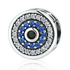 Blue Evil Eye Bead Pendant 925 Sterling Silver Charm fit US Authentic Jewelry