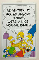"Vtg Rare 1990 Official Original The Simpsons 11""x17"" Sign ""A NICE NORMAL FAMILY"""