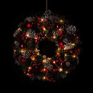 Adventskranz, Türkranz mit LED Lichterkette & Timer - Deko Weihnachten Rot 496