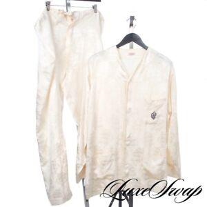 #1 MENSWEAR Vintage Saks 5th Ave Silk Feel Jacquard Ships 2PC Pajama Set NR WOW