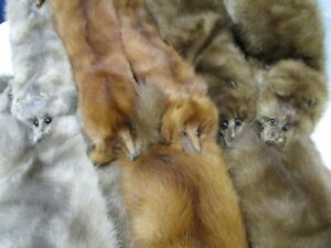 Three Mink Pelts Real Fur Stole Vintage Accessories Scarf Wrap (AL)