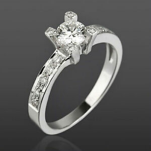 18 KT WHITE GOLD SOLITAIRE & ACCENTS DIAMOND RING WOMEN VVS1 SIZE 4.5 6 7.5 9