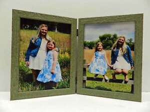 3.5x5 4x5 4x6 5x7  Green Teal Rustic Double Hinged Vertical Wood Picture Frame