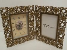 VK Collection Hinged Clock & Photo Frame Faux Pearls Rhinestones-New In Gift Box