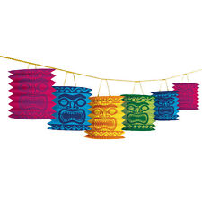 HAWAIIAN LUAU TIKI HEAD ISLAND LANTERN GARLAND BEACH PARTY HANGING DECORATION