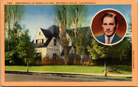 Vtg 1930's Residence Of Errol Flynn Actor Beverly Hills California CA Postcard