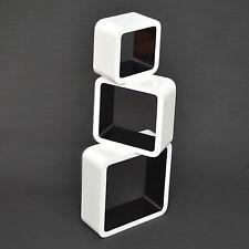 3er Set Lounge Cube Regal Design Retro 70er Wandregal Seventies Weiß Schwarz 07
