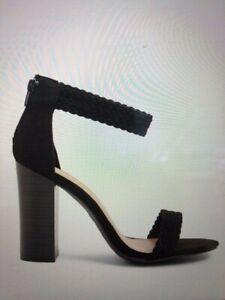 Womans Vegan Suede Braided Chunky BAMBOO Open Toe Black Strap Heels Sz 8