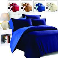 Duvet Cover Bedding Set + Pillowcase Single Double King Size Plain Quilt Cover