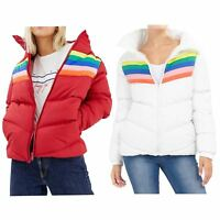 Ladies Oversized Contrast Stripe Colour Insert Polyester Padded Jacket Coat