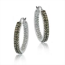 925 Silver 3/4ct Champagne Diamond 2-Row Hoop Earrings