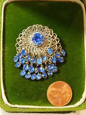 Victorian Inspired Silver Filigree Sapphire Blue Rhinestone Brooch Pin 6a 70