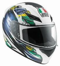 New AGV K3 Brazil Flag Full-Face Adult Helmet, Blue/Yellow/Green, Large/LG