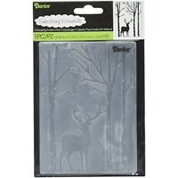 Darice Embossing Folder 4.25-inch x 5.75-inch Deer In Forest, Acrylic, -