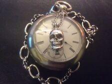 Memento Mori Vanitas Edwardian Style Pocket Watch Chain Skull Locket Poison Pill