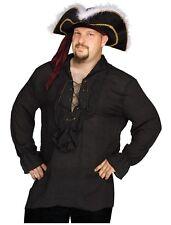 Swashbuckler Pirate Vampire Shirt Adult Costume Accessory, Black, Plus Size