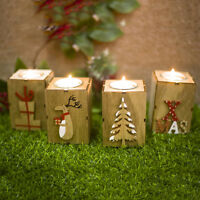 Christmas  Mini Wooden Candlestick Home Party House Candle Holder Winter Decor