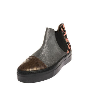 Leather & Calf Hair Chelsea Boots EU 36 UK 3 US 6 Coated Reptile & Star Pattern