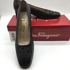 Salvatore Ferragamo Adele pumps size 7.5AA Black Mustang napa calf leather block