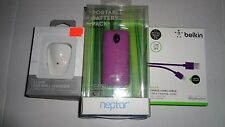 Purple Neptor 2 Port Battery Pack Charger Smartphone,iPad,iPhone 5,6 Cable Bundl