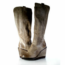$298 FRYE BOOTS 8.5 'PAIGE' Tall Leather Wedge Platform Boots Slate *PRIMO* 8.5