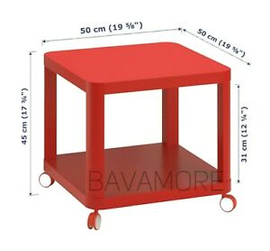 """IKEA TINGBY Side table on casters, Red, 19 5/8x19 5/8"""" BRAND NEW-"""