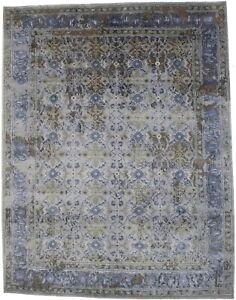 Modern Handmade Floral 8X10 Contemporary Distressed Rug Oriental Decor Carpet