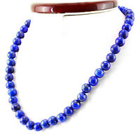 317.00 CTS NATURAL UNTREATED RICH BLUE LAPIS LAZULI ROUND SHAPE BEADS NECKLACE