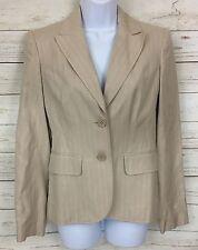 Ann Taylor Beige Striped Silk Blend 2- Button Blazer Jacket Size 0