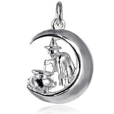 Witch Moon Cauldron Charm Sterling Silver .925 Halloween