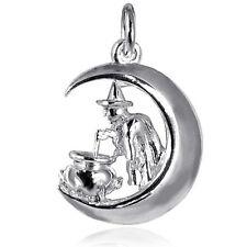 Witch Moon Cauldron Charm Sterling Silver .925 Halloween CMHWWT02