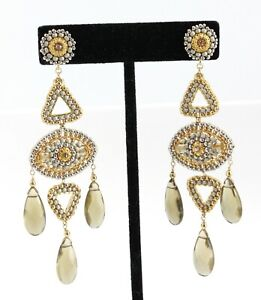 """Miguel Ases Chandelier Topaz Quartz Drop Earrings 3 1/2"""" Long ~ New With Pouch"""