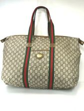 AUTH GUCCI Web Sherry Line GG Canvas Tote Bag PVC Leather Italy 58013411