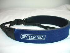 "OPTECH quick release camera NECK STRAP  Fashion Strap - 3/8"" Blue / Black MINT"