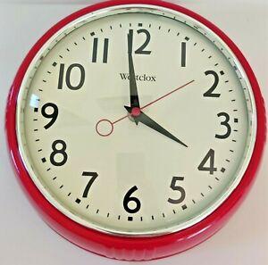 """Westclox Vintage Look Wall Clock Retro 1950 Red 91/2"""" diameter 3"""" Depth"""