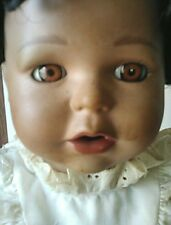 Rare Collector Vintage African American Girl Doll In A Basket