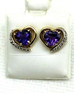 10K Yellow Gold Amethyst Heart Earrings White Gold Accent With  Diamond