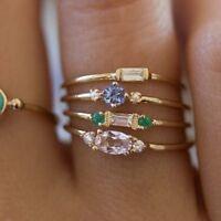 Mujeres Oro Brillante Juego de anillos de cristal Anillos de fiesta de circonio