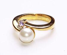 Sunny ORO METALLO torsione impostazione anello W PERLATO PERLINE & Tasteful DIAMANTE (ZX5 / 47)