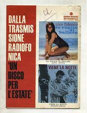 LA VOGLIA DI BALLARE-VIENE LA NOTTE#Spartito RCA Italiana #N.Fidenco-Little Tony