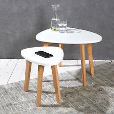 2er Set Couchtische weiß natur Satztische Retro Beistelltisch Tisch Modern chic