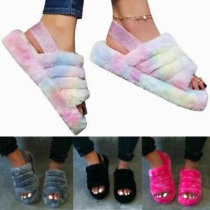 Ladies Fur Slippers Womens Fluffy Slide Sliders Winter Warm Furry Flip Flop Size
