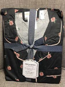 Pottery Barn Teen Emily Meritt Floral Ditsy PJ Set Pajamas Medium Black Rose NWT
