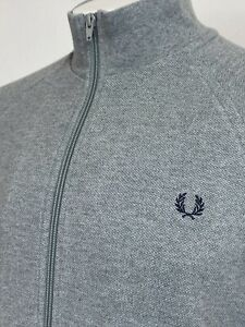 Fred Perry   Cotton Piqué Zip Up Jacket Large (Grey) Mod 90's Casuals Scooter